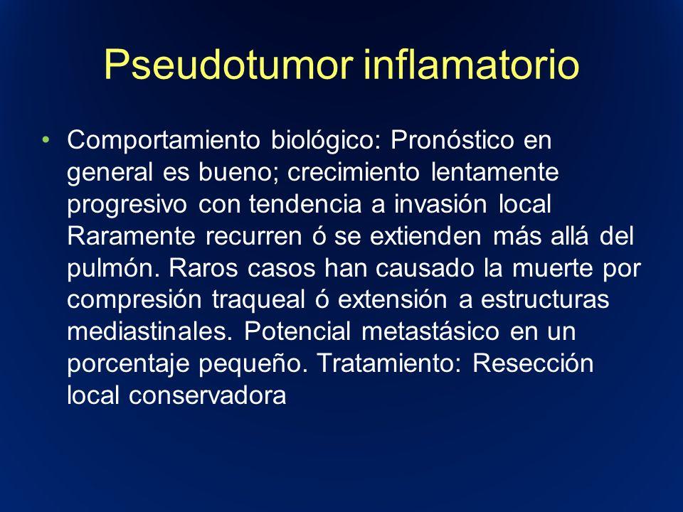 Pseudotumor inflamatorio Comportamiento biológico: Pronóstico en general es bueno; crecimiento lentamente progresivo con tendencia a invasión local Ra