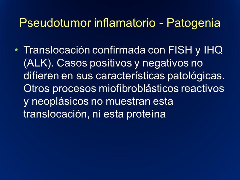 Pseudotumor inflamatorio - Patogenia Translocación confirmada con FISH y IHQ (ALK). Casos positivos y negativos no difieren en sus características pat