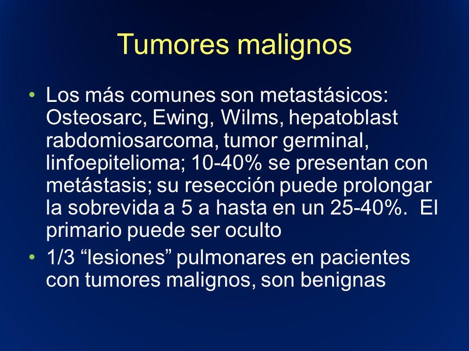 Tumores malignos Los más comunes son metastásicos: Osteosarc, Ewing, Wilms, hepatoblast rabdomiosarcoma, tumor germinal, linfoepitelioma; 10-40% se pr