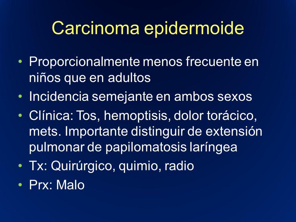Carcinoma epidermoide Proporcionalmente menos frecuente en niños que en adultos Incidencia semejante en ambos sexos Clínica: Tos, hemoptisis, dolor to