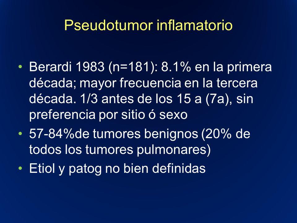 Pseudotumor inflamatorio Berardi 1983 (n=181): 8.1% en la primera década; mayor frecuencia en la tercera década. 1/3 antes de los 15 a (7a), sin prefe