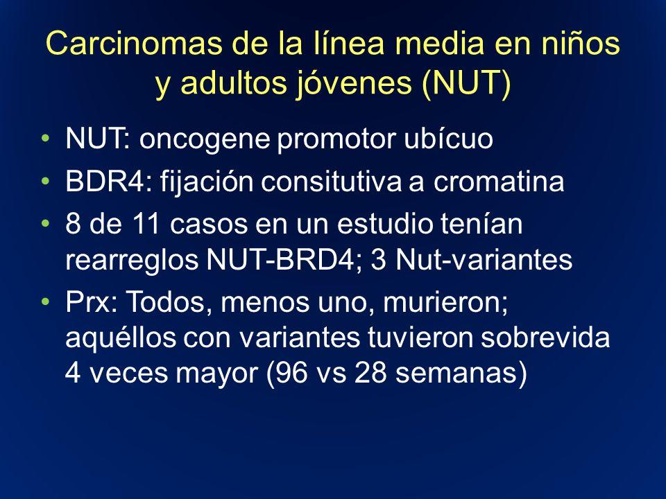 Carcinomas de la línea media en niños y adultos jóvenes (NUT) NUT: oncogene promotor ubícuo BDR4: fijación consitutiva a cromatina 8 de 11 casos en un