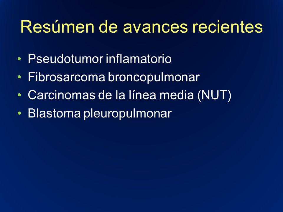 Resúmen de avances recientes Pseudotumor inflamatorio Fibrosarcoma broncopulmonar Carcinomas de la línea media (NUT) Blastoma pleuropulmonar