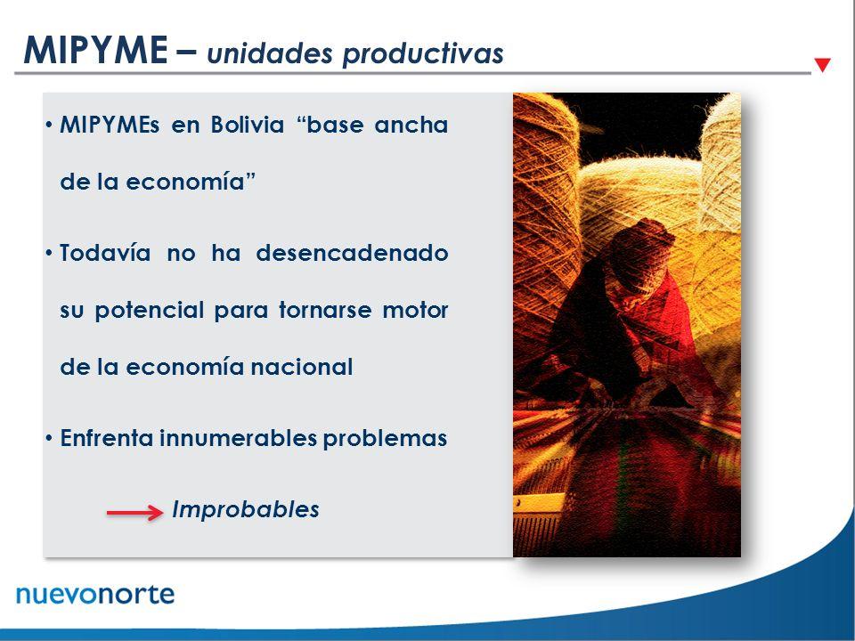 MIPYME – unidades productivas MIPYMEs en Bolivia base ancha de la economía Todavía no ha desencadenado su potencial para tornarse motor de la economía