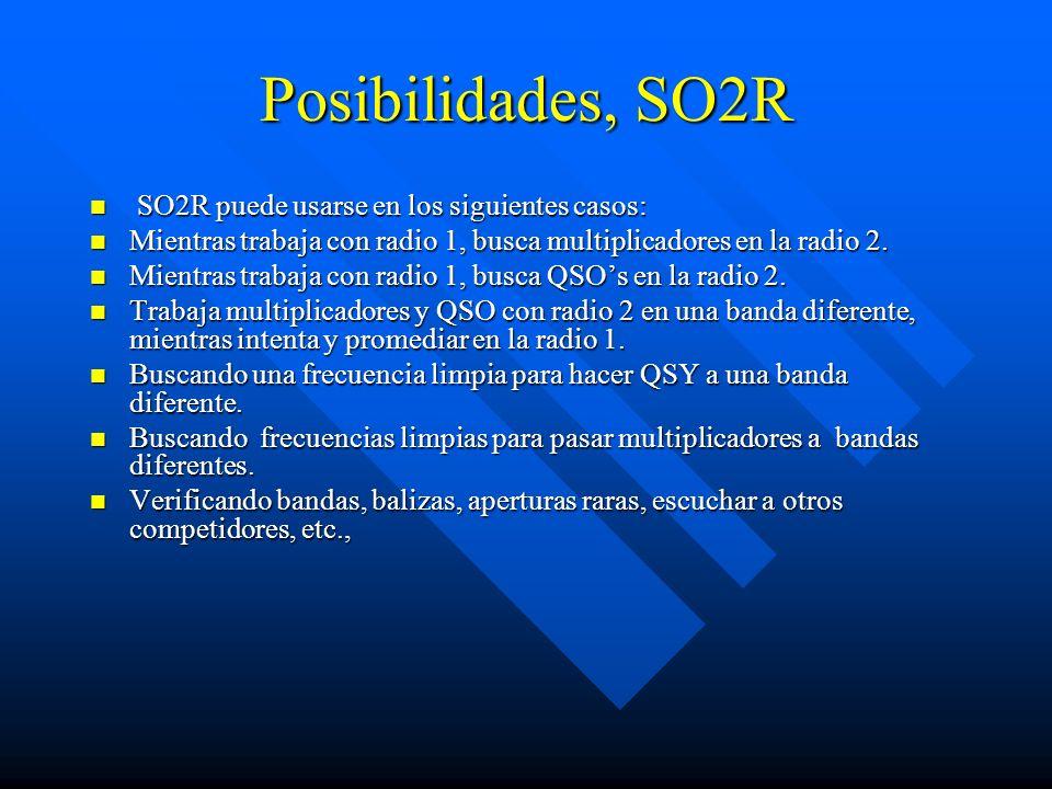 Posibilidades, SO2R SO2R puede usarse en los siguientes casos: SO2R puede usarse en los siguientes casos: Mientras trabaja con radio 1, busca multipli