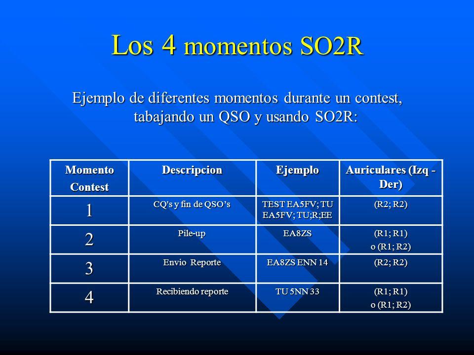 Los 4 momentos SO2R Ejemplo de diferentes momentos durante un contest, tabajando un QSO y usando SO2R: MomentoContestDescripcionEjemplo Auriculares (I