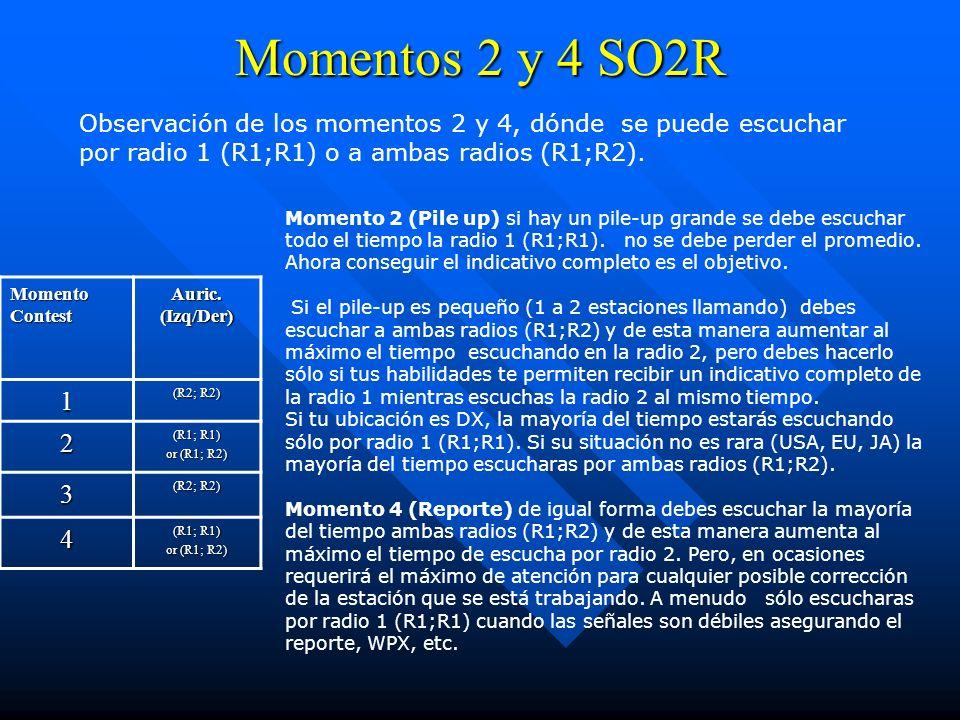 Momentos 2 y 4 SO2R Momento Contest Auric. (Izq/Der) 1 (R2; R2) 2 (R1; R1) or (R1; R2) 3 (R2; R2) 4 (R1; R1) or (R1; R2) Observación de los momentos 2