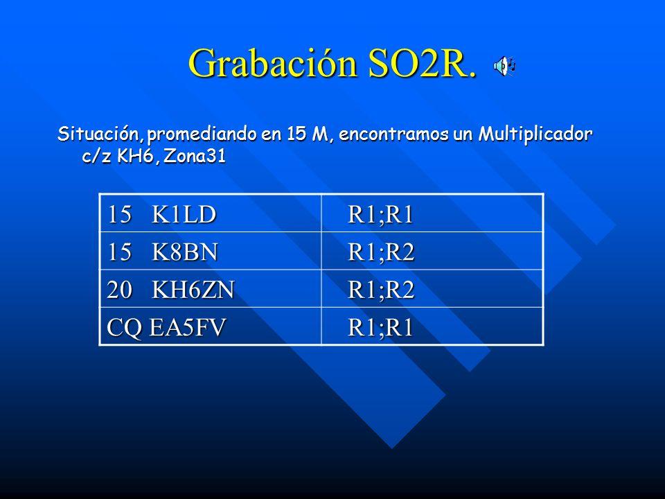 Grabación SO2R. Situación, promediando en 15 M, encontramos un Multiplicador c/z KH6, Zona31 15 K1LD R1;R1 R1;R1 15 K8BN R1;R2 R1;R2 20 KH6ZN R1;R2 R1