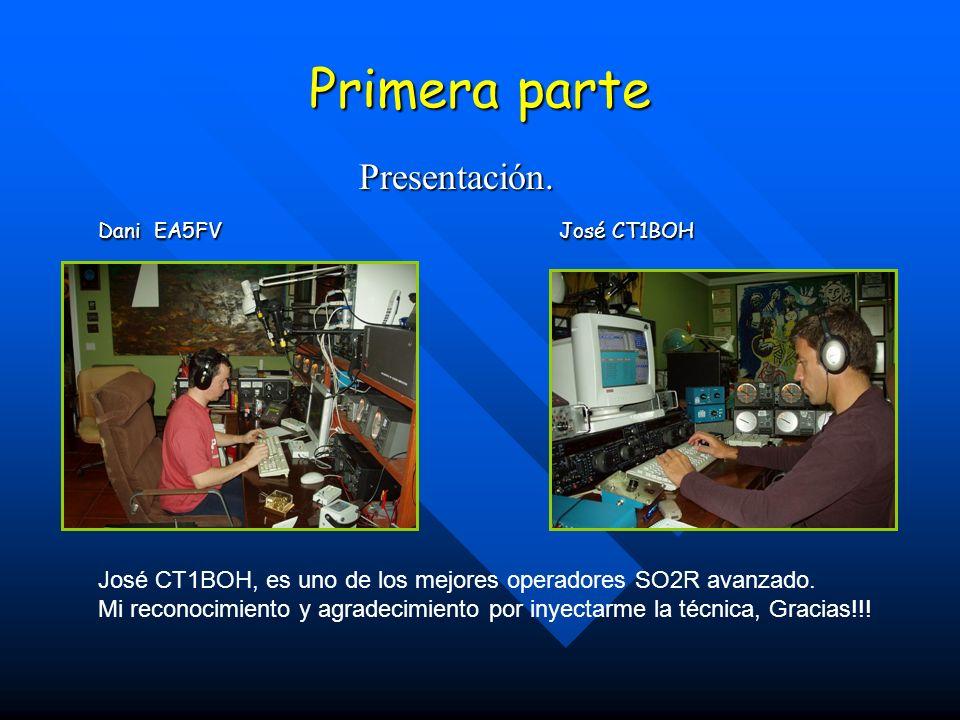 Primera parte Presentación. Presentación. Dani EA5FV José CT1BOH José CT1BOH, es uno de los mejores operadores SO2R avanzado. Mi reconocimiento y agra