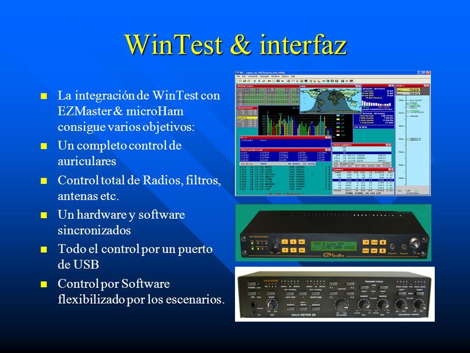 WinTest & interfaz La integración de WinTest con EZMaster & microHam consigue varios objetivos: Un completo control de auriculares Control total de Ra