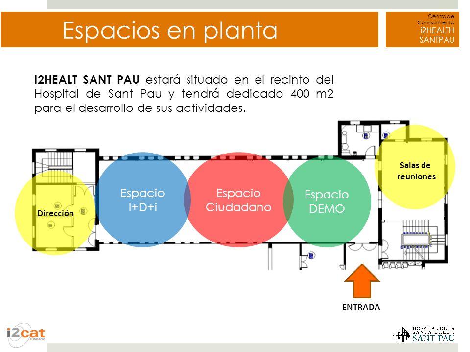 Centro de Conocimiento i2HEALTH SANTPAU Espacios en planta Dirección Espacio Ciudadano Espacio I+D+i Espacio DEMO Salas de reuniones ENTRADA I2HEALT S