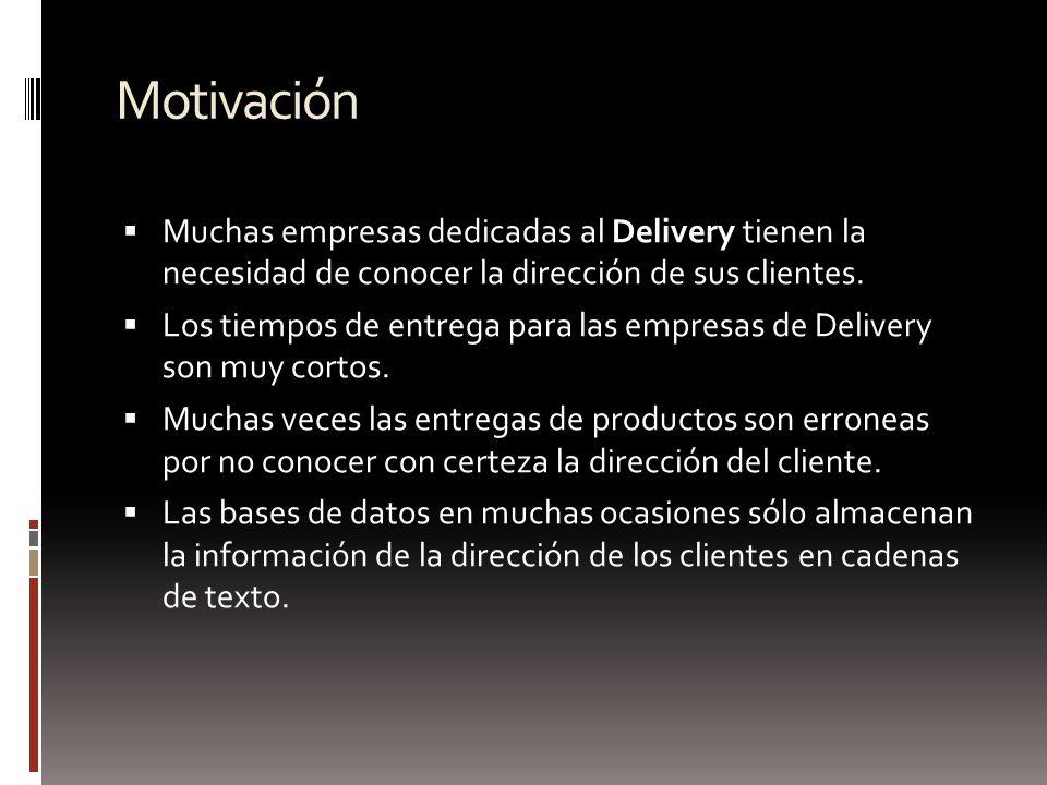 Motivación Muchas empresas dedicadas al Delivery tienen la necesidad de conocer la dirección de sus clientes. Los tiempos de entrega para las empresas