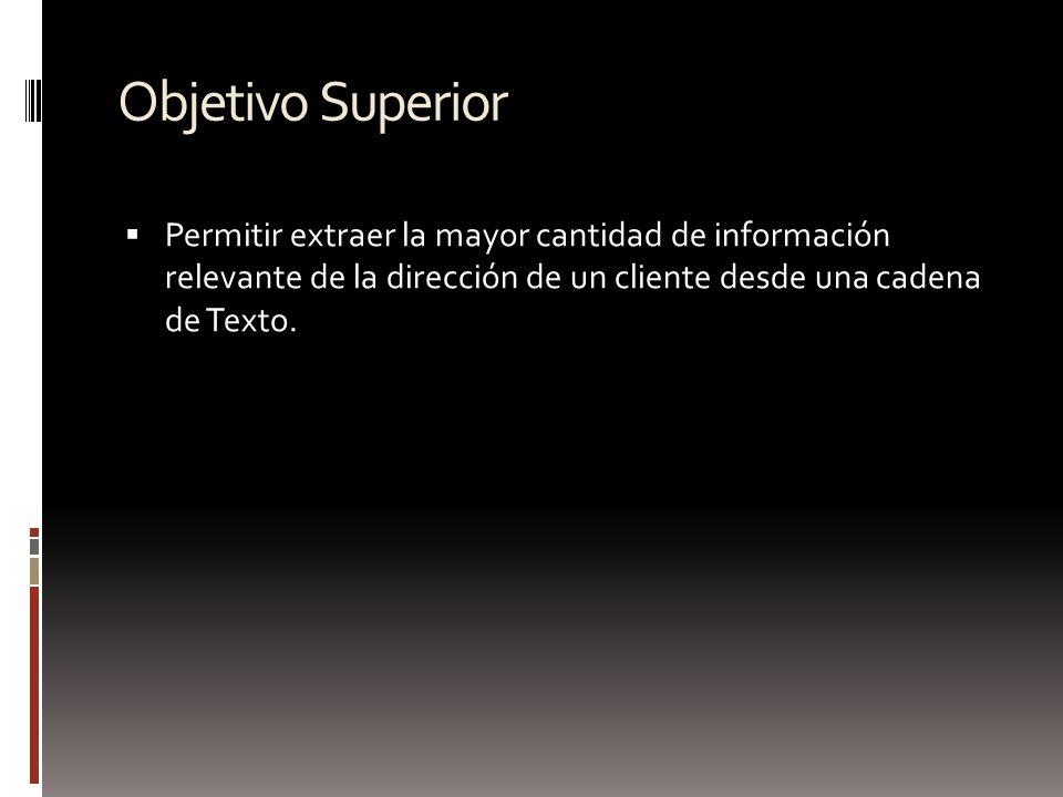 Objetivo Superior Permitir extraer la mayor cantidad de información relevante de la dirección de un cliente desde una cadena de Texto.