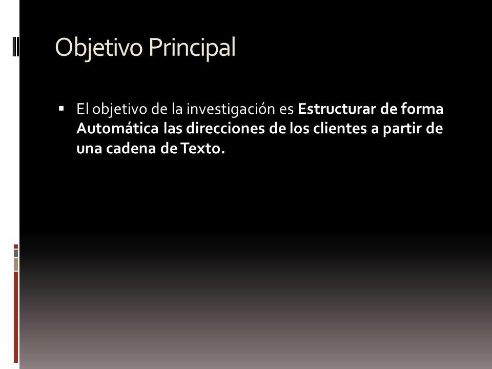 Objetivo Principal El objetivo de la investigación es Estructurar de forma Automática las direcciones de los clientes a partir de una cadena de Texto.