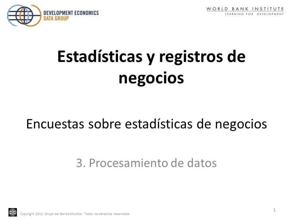 Copyright 2010, Grupo del Banco Mundial. Todos los derechos reservados Encuestas sobre estadísticas de negocios 3. Procesamiento de datos 1 Estadístic