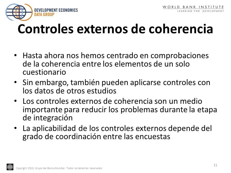 Copyright 2010, Grupo del Banco Mundial. Todos los derechos reservados Controles externos de coherencia Hasta ahora nos hemos centrado en comprobacion