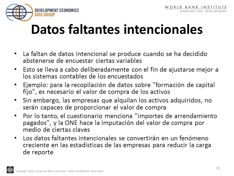 Copyright 2010, Grupo del Banco Mundial. Todos los derechos reservados Datos faltantes intencionales La faltan de datos intencional se produce cuando