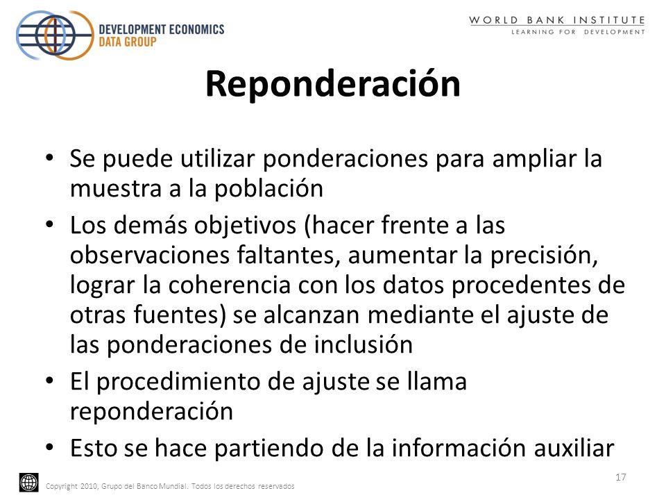 Copyright 2010, Grupo del Banco Mundial. Todos los derechos reservados Reponderación Se puede utilizar ponderaciones para ampliar la muestra a la pobl