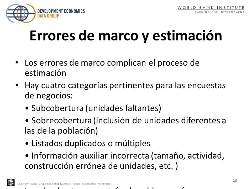 Copyright 2010, Grupo del Banco Mundial. Todos los derechos reservados Errores de marco y estimación Los errores de marco complican el proceso de esti