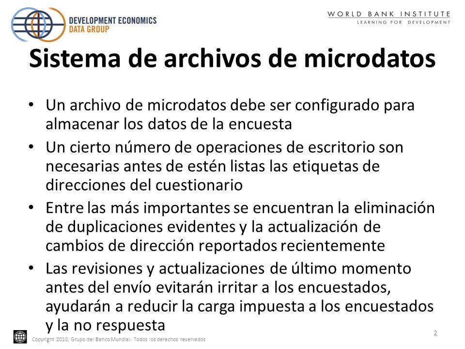 Copyright 2010, Grupo del Banco Mundial. Todos los derechos reservados Sistema de archivos de microdatos Un archivo de microdatos debe ser configurado