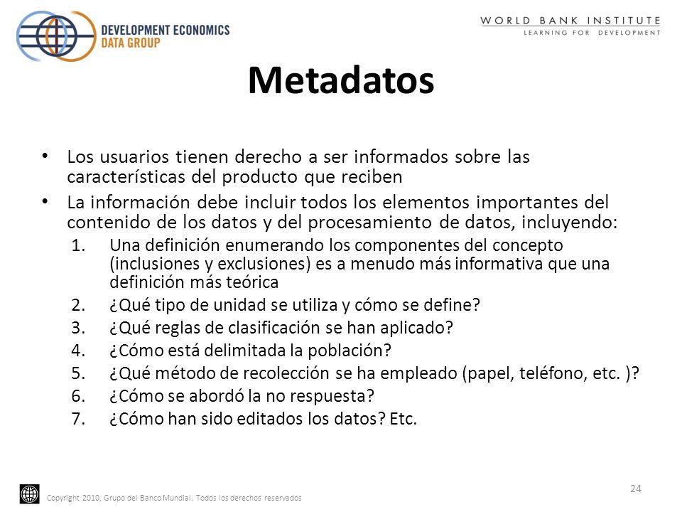 Copyright 2010, Grupo del Banco Mundial. Todos los derechos reservados Metadatos Los usuarios tienen derecho a ser informados sobre las característica