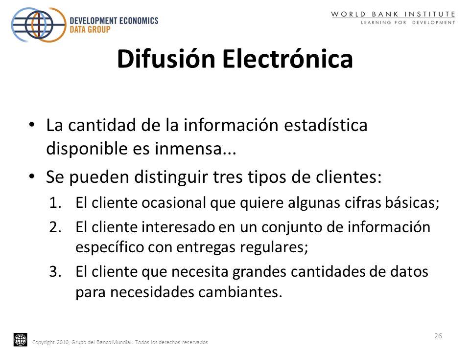 Copyright 2010, Grupo del Banco Mundial. Todos los derechos reservados Difusión Electrónica La cantidad de la información estadística disponible es in