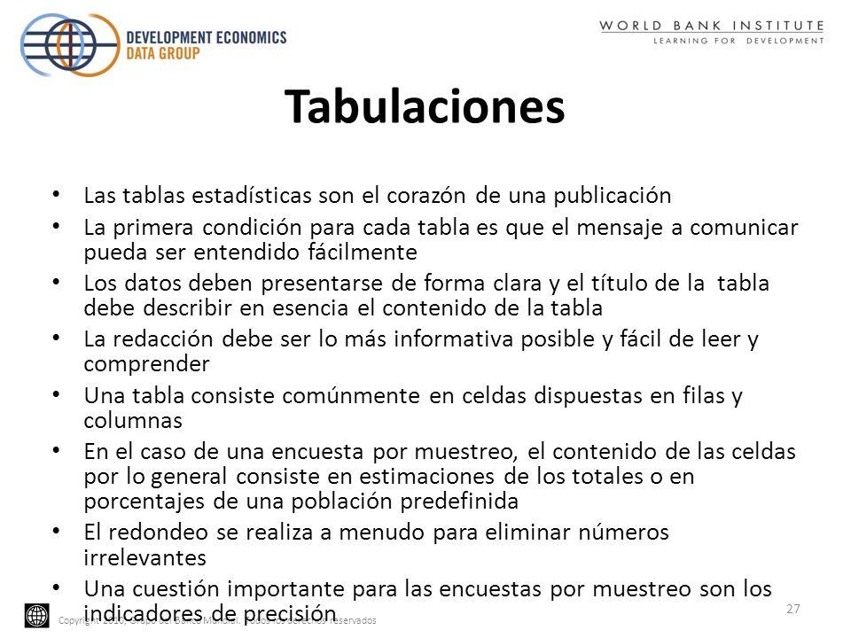 Copyright 2010, Grupo del Banco Mundial. Todos los derechos reservados Tabulaciones Las tablas estadísticas son el corazón de una publicación La prime