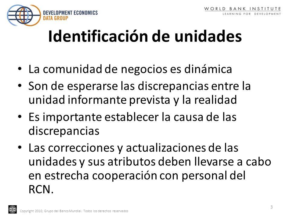 Copyright 2010, Grupo del Banco Mundial. Todos los derechos reservados Identificación de unidades La comunidad de negocios es dinámica Son de esperars