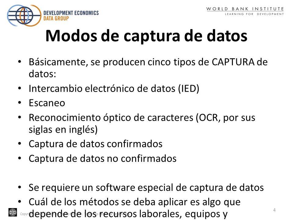 Copyright 2010, Grupo del Banco Mundial. Todos los derechos reservados Modos de captura de datos Básicamente, se producen cinco tipos de CAPTURA de da