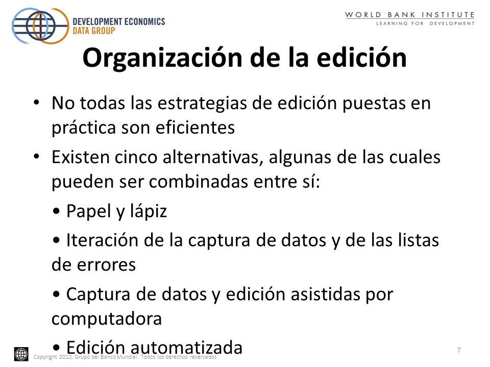 Copyright 2010, Grupo del Banco Mundial. Todos los derechos reservados Organización de la edición No todas las estrategias de edición puestas en práct
