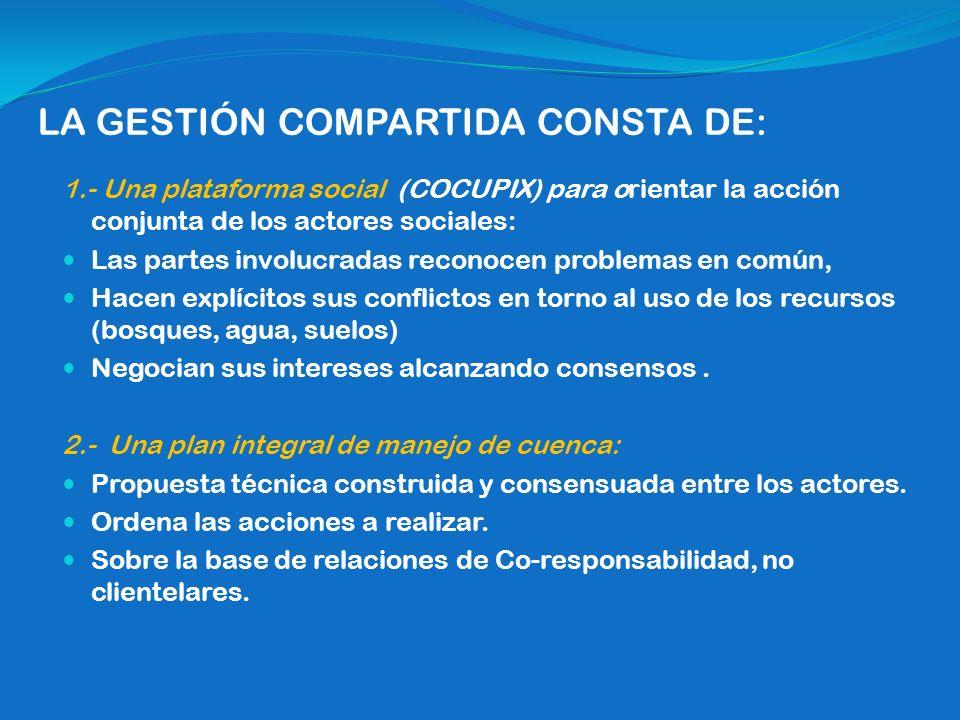 LA GESTIÓN COMPARTIDA CONSTA DE: 1.- Una plataforma social (COCUPIX) para orientar la acción conjunta de los actores sociales: Las partes involucradas