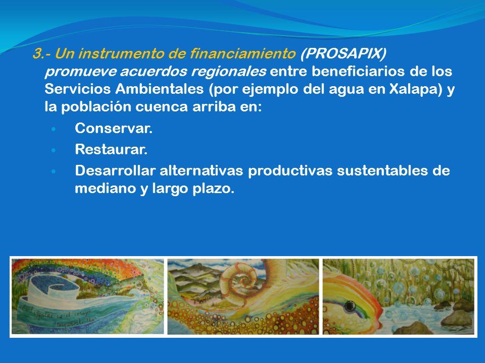 3.- Un instrumento de financiamiento (PROSAPIX) promueve acuerdos regionales entre beneficiarios de los Servicios Ambientales (por ejemplo del agua en