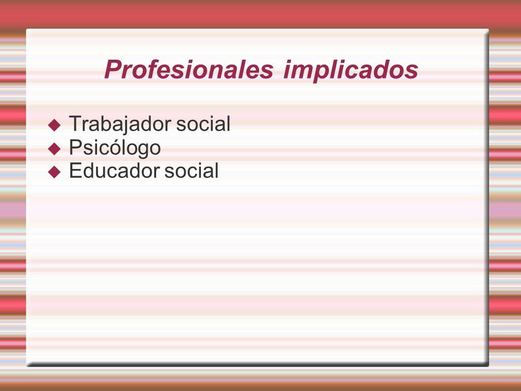 Profesionales implicados Trabajador social Psicólogo Educador social