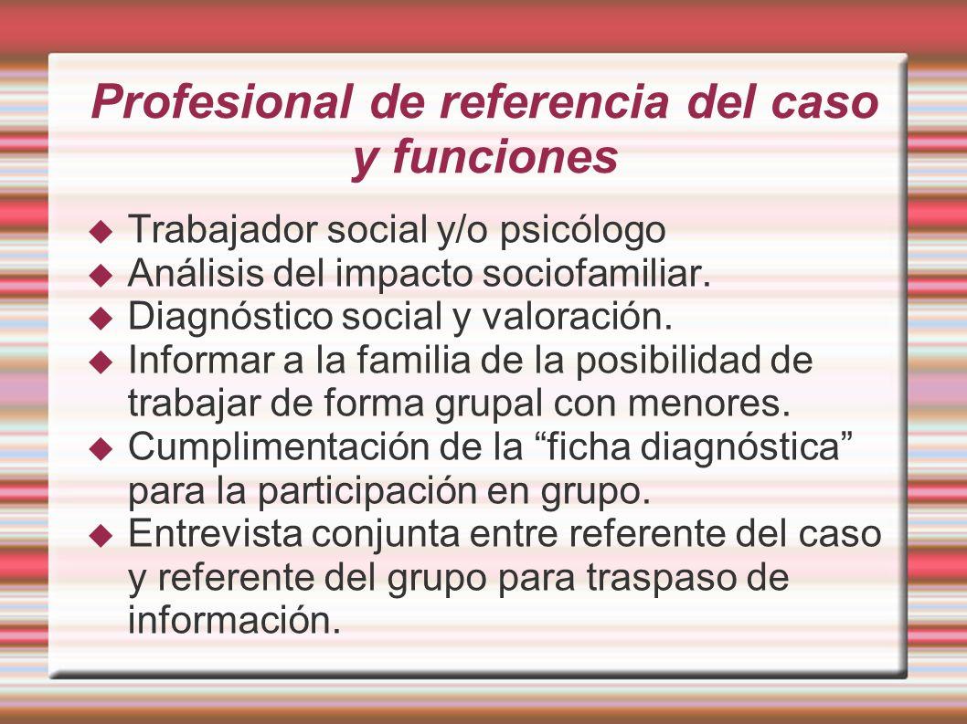 Profesional de referencia del caso y funciones Trabajador social y/o psicólogo Análisis del impacto sociofamiliar. Diagnóstico social y valoración. In