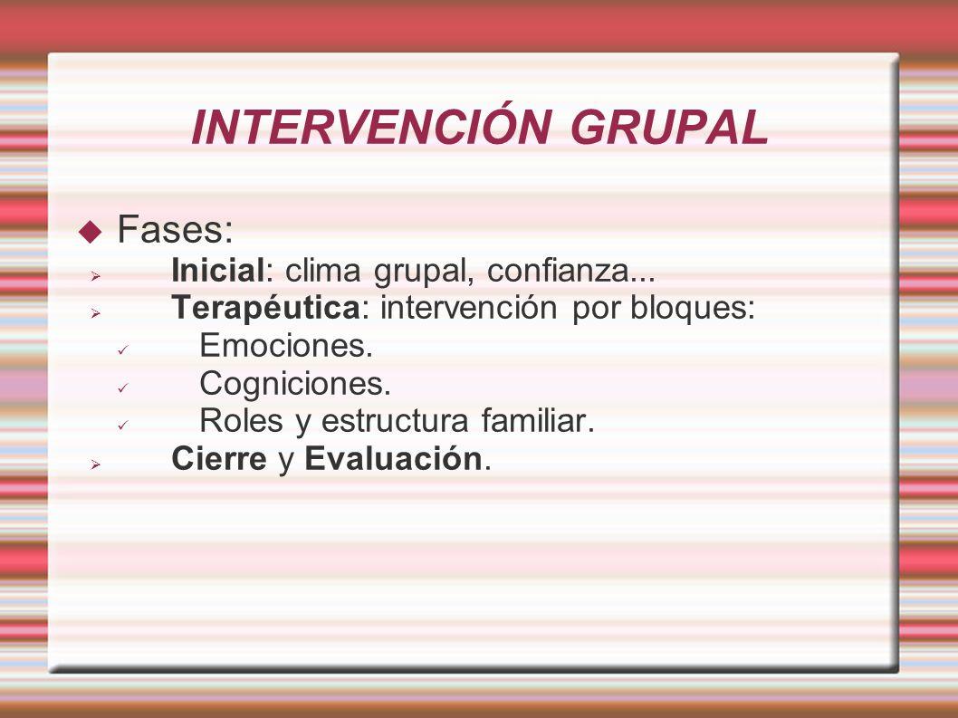 INTERVENCIÓN GRUPAL Fases: Inicial: clima grupal, confianza... Terapéutica: intervención por bloques: Emociones. Cogniciones. Roles y estructura famil