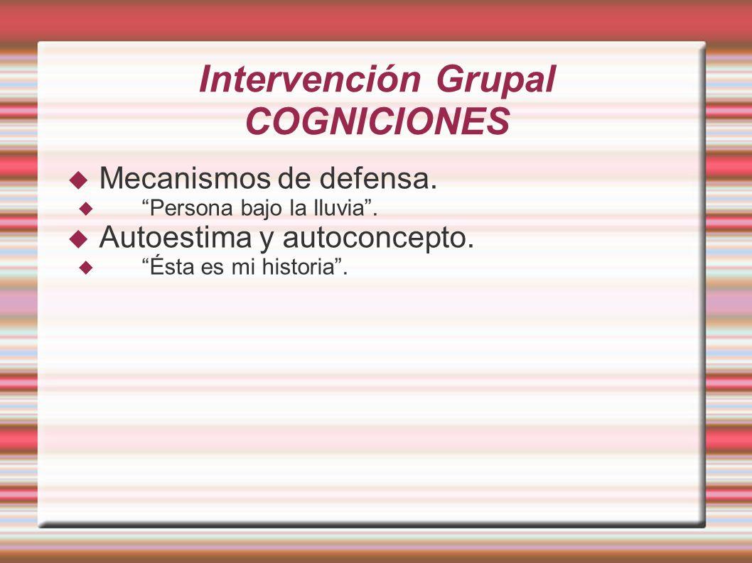 Intervención Grupal COGNICIONES Mecanismos de defensa. Persona bajo la lluvia. Autoestima y autoconcepto. Ésta es mi historia.