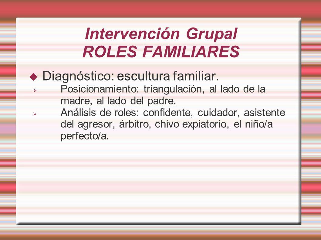 Intervención Grupal ROLES FAMILIARES Diagnóstico: escultura familiar. Posicionamiento: triangulación, al lado de la madre, al lado del padre. Análisis