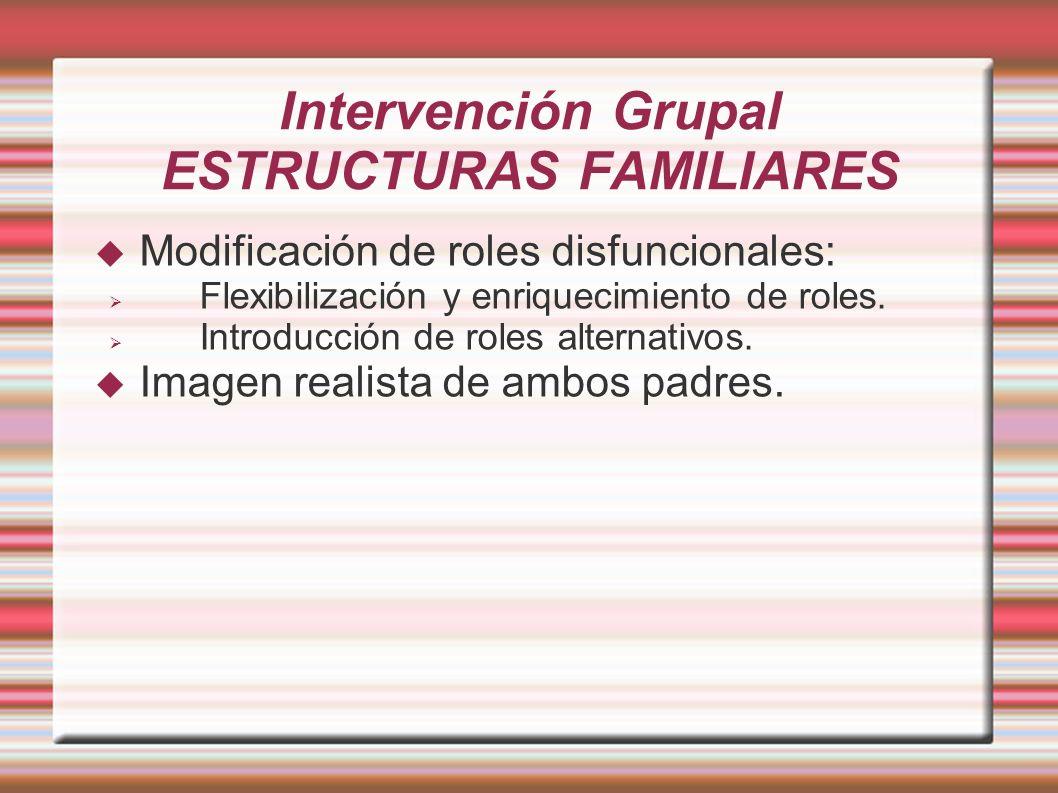 Intervención Grupal ESTRUCTURAS FAMILIARES Modificación de roles disfuncionales: Flexibilización y enriquecimiento de roles. Introducción de roles alt