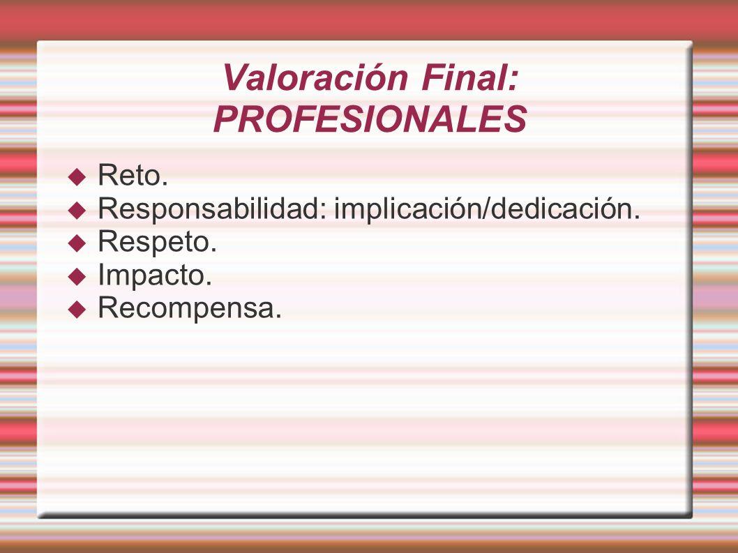 Valoración Final: PROFESIONALES Reto. Responsabilidad: implicación/dedicación. Respeto. Impacto. Recompensa.