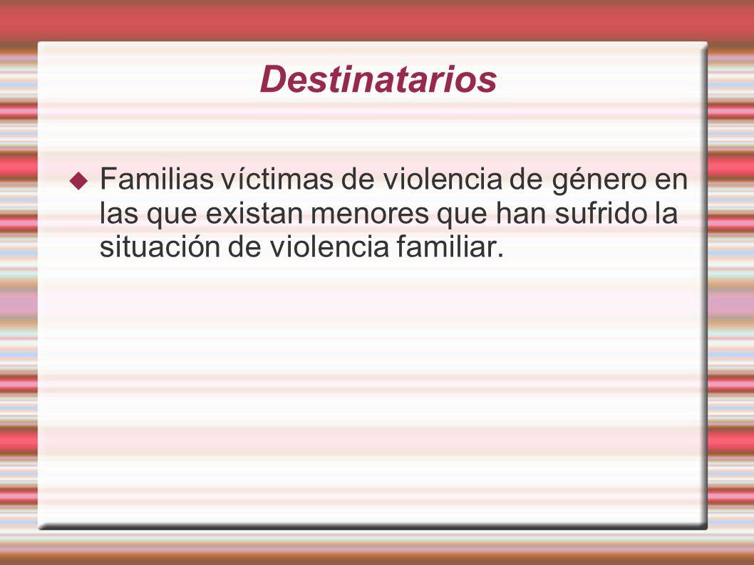 Destinatarios Familias víctimas de violencia de género en las que existan menores que han sufrido la situación de violencia familiar.