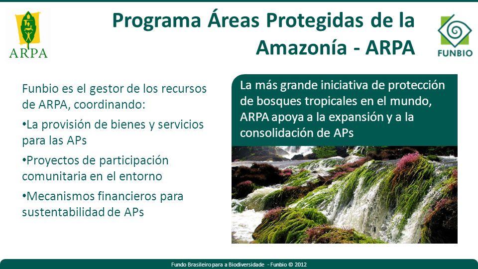 Fundo Brasileiro para a Biodiversidade - Funbio © 2012 Funbio es el gestor de los recursos de ARPA, coordinando: La provisión de bienes y servicios para las APs Proyectos de participación comunitaria en el entorno Mecanismos financieros para sustentabilidad de APs La más grande iniciativa de protección de bosques tropicales en el mundo, ARPA apoya a la expansión y a la consolidación de APs Programa Áreas Protegidas de la Amazonía - ARPA