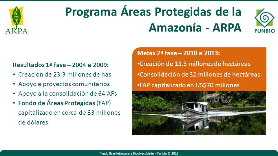 Resultados 1ª fase – 2004 a 2009: Creación de 23,3 millones de has Apoyo a proyectos comunitarios Apoyo a la consolidación de 64 APs Fondo de Áreas Protegidas (FAP) capitalizado en cerca de 33 millones de dólares Metas 2ª fase – 2010 a 2013: Creación de 13,5 millones de hectáreas Consolidación de 32 millones de hectáreas FAP capitalizado en US$70 millones Programa Áreas Protegidas de la Amazonía - ARPA