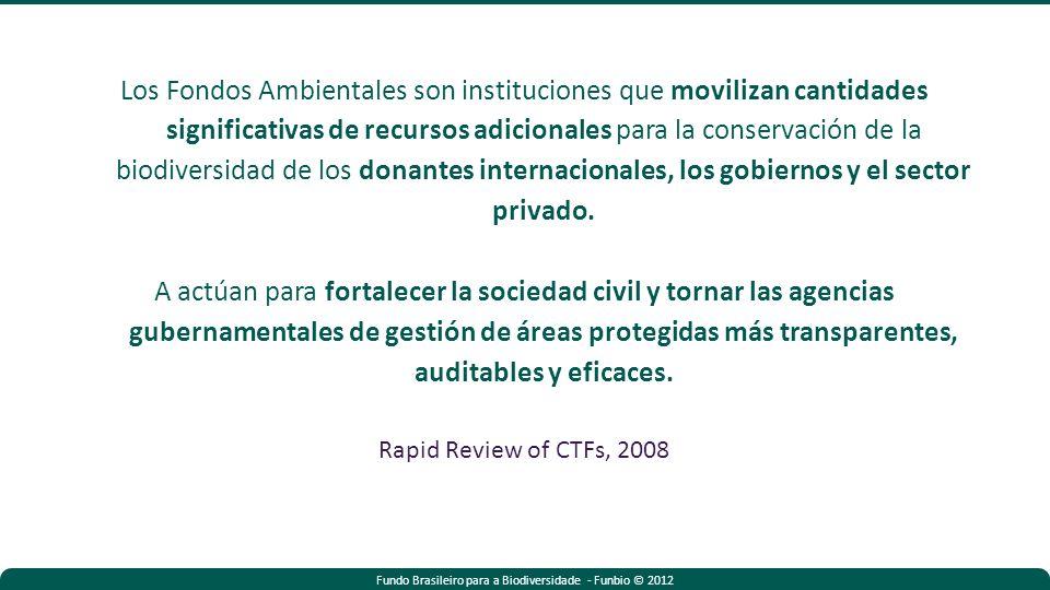 Fundo Brasileiro para a Biodiversidade - Funbio © 2012 Los Fondos Ambientales son instituciones que movilizan cantidades significativas de recursos adicionales para la conservación de la biodiversidad de los donantes internacionales, los gobiernos y el sector privado.