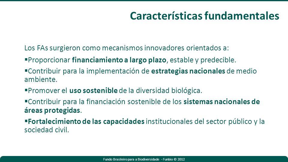 Fundo Brasileiro para a Biodiversidade - Funbio © 2012 Los FAs surgieron como mecanismos innovadores orientados a: Proporcionar financiamiento a largo plazo, estable y predecible.