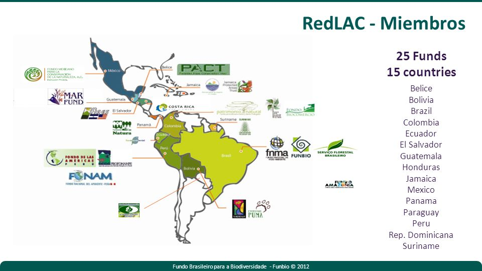 Fundo Brasileiro para a Biodiversidade - Funbio © 2012 25 Funds 15 countries Belice Bolivia Brazil Colombia Ecuador El Salvador Guatemala Honduras Jamaica Mexico Panama Paraguay Peru Rep.