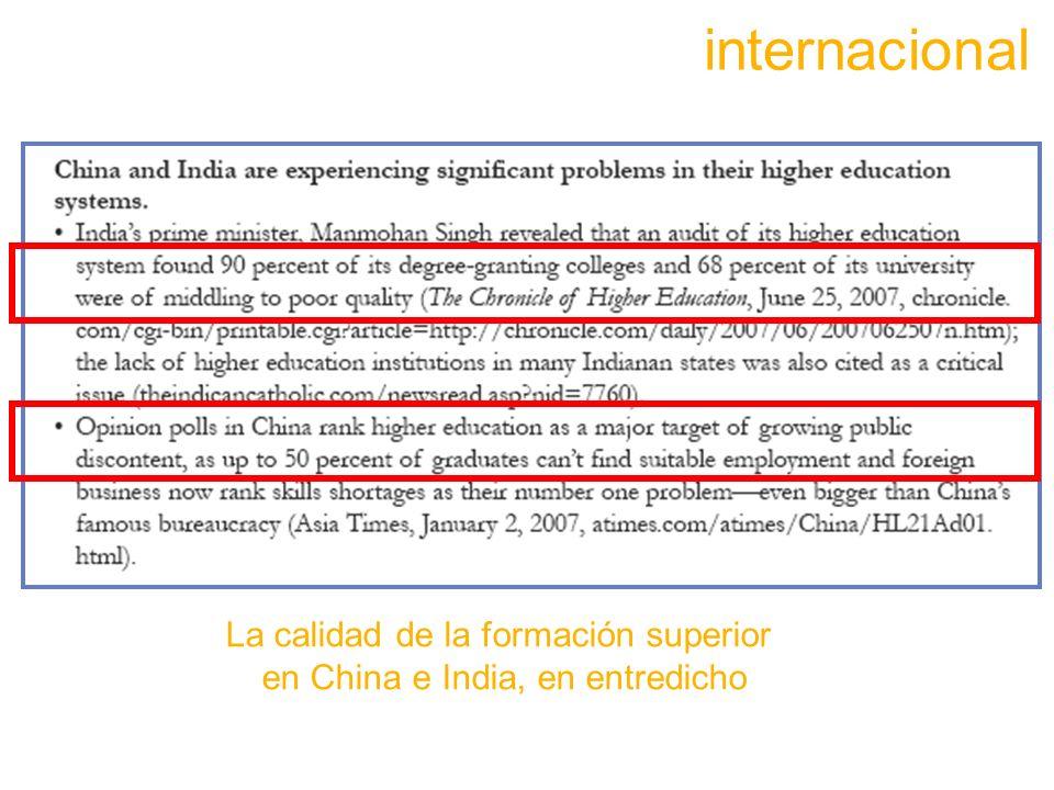 La calidad de la formación superior en China e India, en entredicho