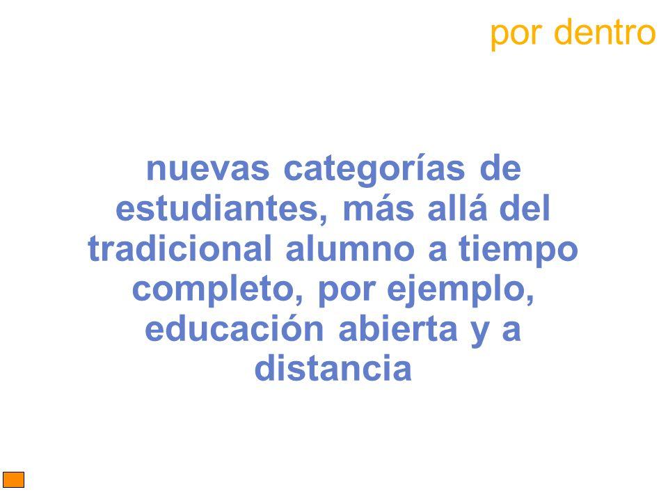 nuevas categorías de estudiantes, más allá del tradicional alumno a tiempo completo, por ejemplo, educación abierta y a distancia por dentro