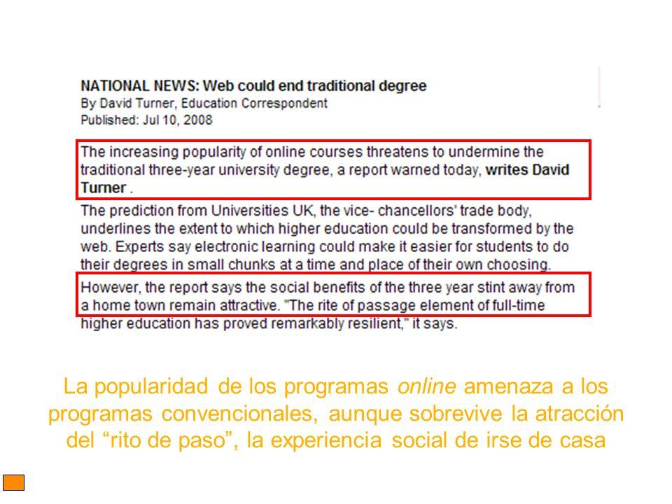 La popularidad de los programas online amenaza a los programas convencionales, aunque sobrevive la atracción del rito de paso, la experiencia social d