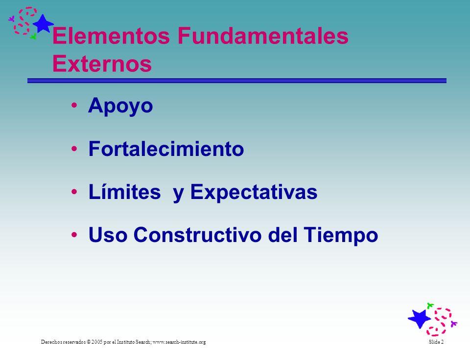 Slide 3 Derechos reservados © 2005 por el Instituto Search; www.search-institute.org Elementos Fundamentales Internos Compromiso con el Aprendizaje Valores Positivos Capacidad Social Identidad Positiva