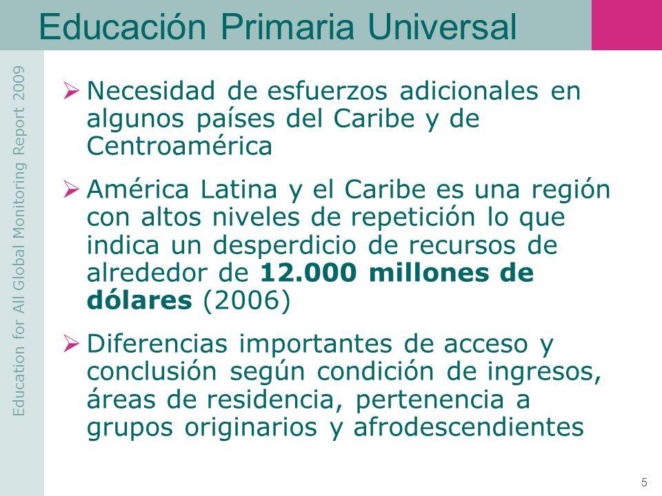 Education for All Global Monitoring Report 2009 6 Educación Primaria Universal Trabajo infantil Problemas de salud de la población en edad escolar Insuficiente atención a los niños con discapacidad Crisis financiera actual Obstáculos para el logro de esta meta en la región: